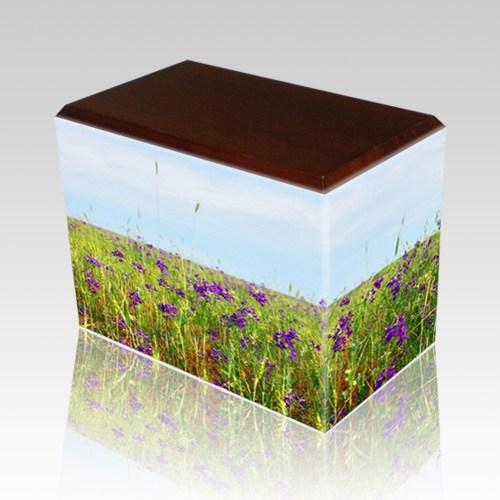 Field of Violets Walnut Child Cremation Urn