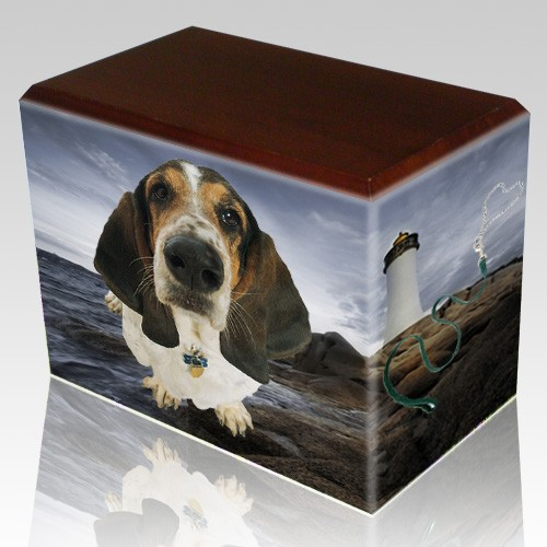 Lighthouse Walnut Pet Picture Urn III