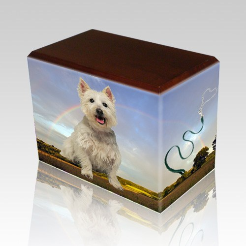 Rainbow Walnut Pet Picture Urn
