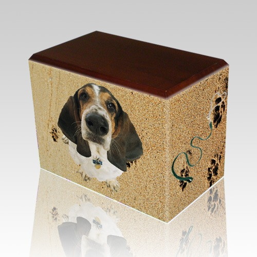 Sand Tracks Walnut Pet Picture Urn