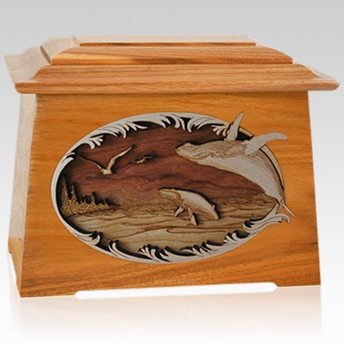 Whale & Calf Mahogany Aristocrat Cremation Urn