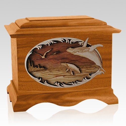 Whale & Calf Mahogany Cremation Urn