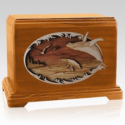 Whale & Calf Mahogany Hampton Cremation Urn