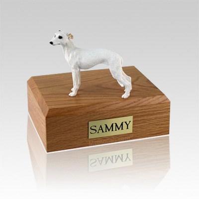 Whippet White Large Dog Urn