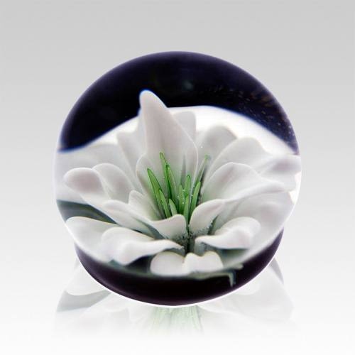 White Lily Ash Glass Weight