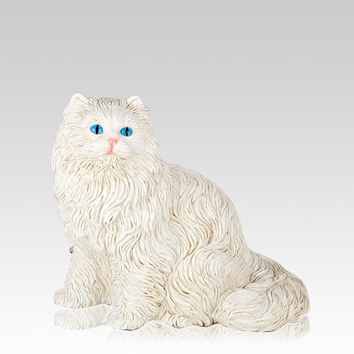 White Longhair Cat Cremation Urn