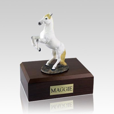 White Rearing Large Horse Cremation Urn