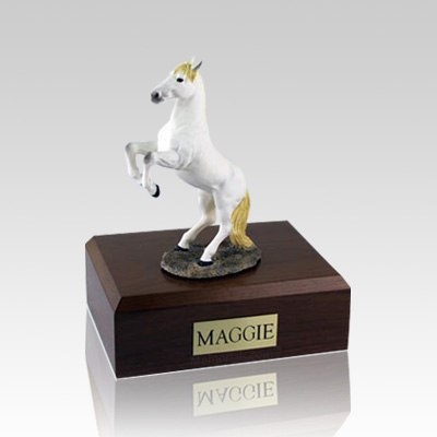 White Rearing Medium Horse Cremation Urn