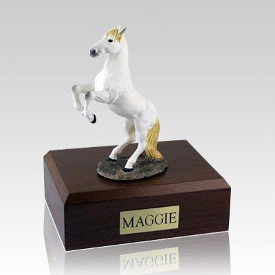 White Rearing X Large Horse Cremation Urn