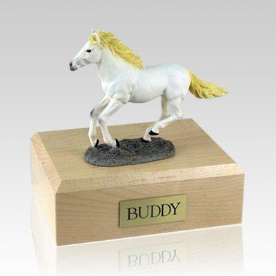 White Running Large Horse Cremation Urn