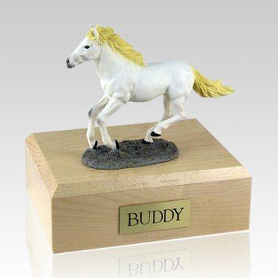 White Running X Large Horse Cremation Urn