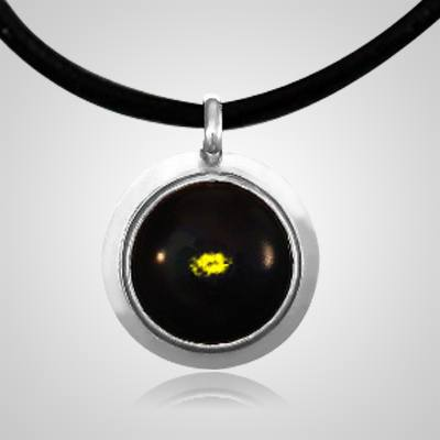 Yellow Spot of Color Silver Cremation Ash Pendant