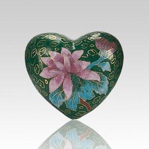 Green Copper Heart Cremation Urn