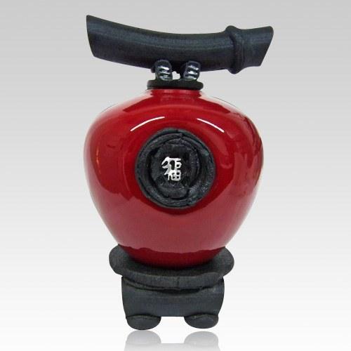 Raku Red Wish Keeper Cremation Urns