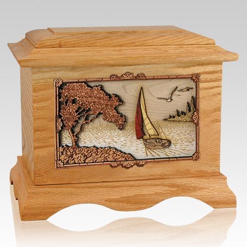 Sailboat Oak Cremation Urn