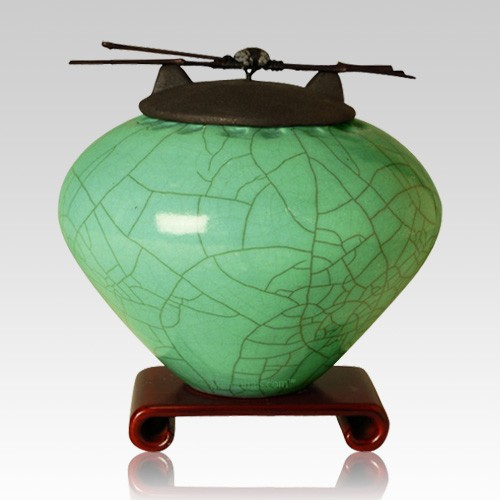Raku Aqua Extra Large Cremation Urn