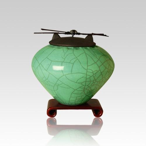 Raku Aqua Small Cremation Urn