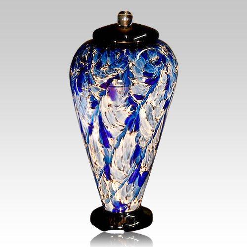 Blue Wave Glass Cremation Urn
