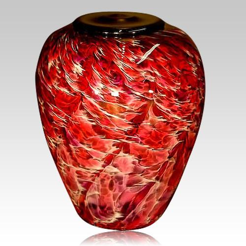 Volcano Ruby Glass Cremation Urn