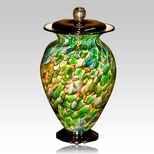 Palm Drops Glass Cremation Urn