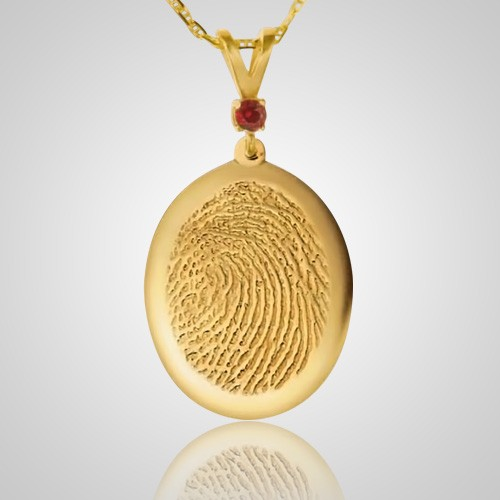 Large Casing 14k Yellow Gold Finger Print Keepsakes