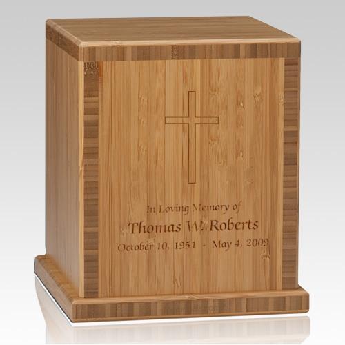 Cross Bamboo Caramel Cremation Urn