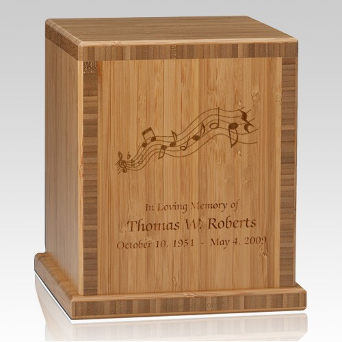 Music Notes Bamboo Caramel Cremation Urn
