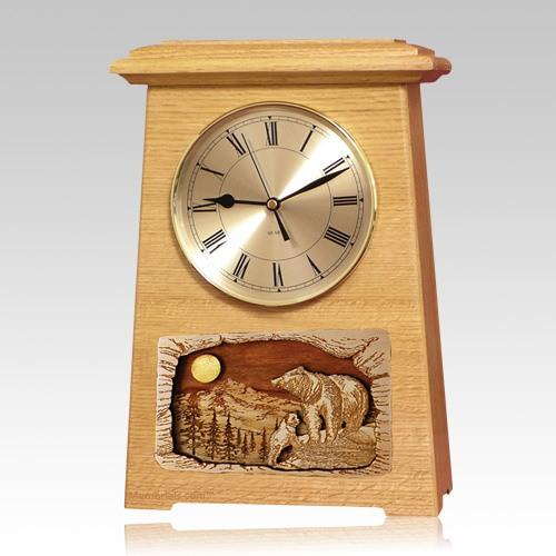 Bear Astoria Clock Oak Cremation Urn
