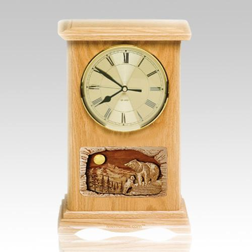 Bear Clock Oak Cremation Urn