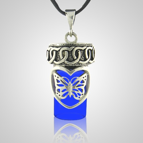 Butterfly Dream Blue Cremation Pendant