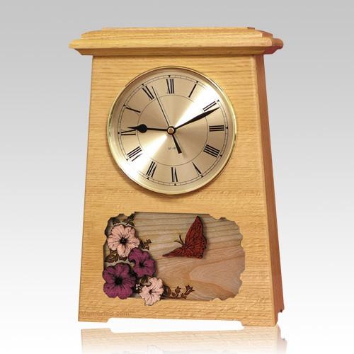 Butterfly Astoria Clock Oak Cremation Urn