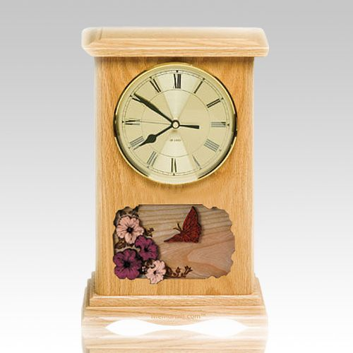 Butterfly Clock Oak Cremation Urn