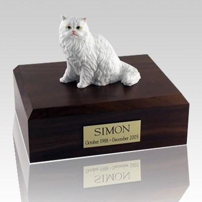 Persian White Sitting Cat Cremation Urns