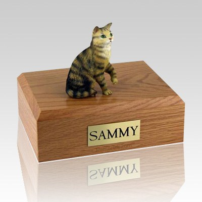 Tabby Brown Sitting Cat Cremation Urns