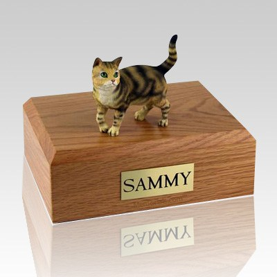 Tabby Brown Standing Cat Cremation Urns
