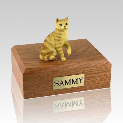 Tabby Red Sitting Cat Cremation Urns