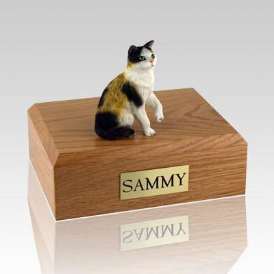 Calico Sitting Cat Cremation Urns