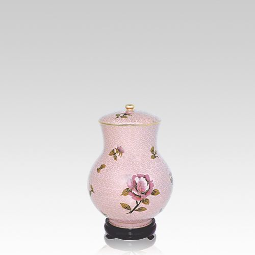 Blissful Rose Small Cloisonne Urn