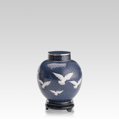 Peace Doves Small Cloisonne Urn