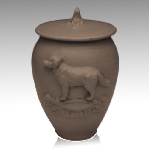 Doggy Soft Brown Ceramic Cremation Urn