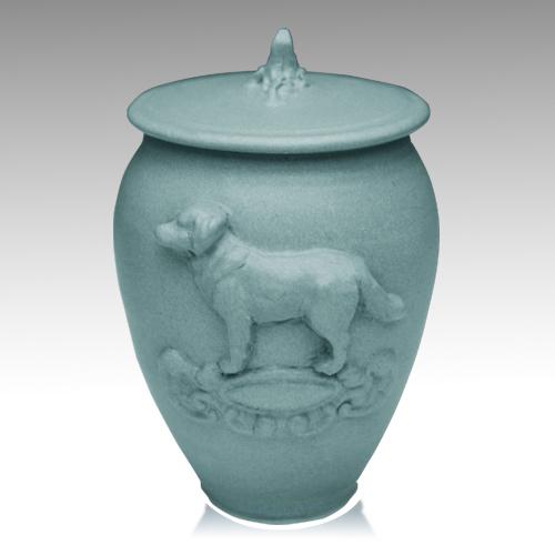 Doggy Variegated Blue Ceramic Cremation Urn
