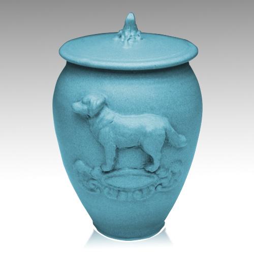 Doggy Weathered Blue Ceramic Cremation Urn