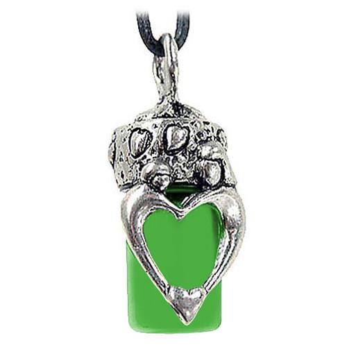Mother & Child Green Cremation Necklace