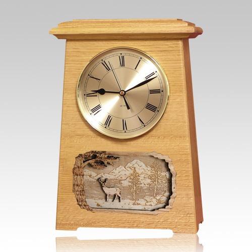 Deer Astoria Clock Oak Cremation Urn