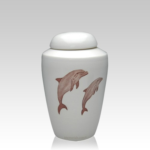 Dolphin Ceramic Small Cremation Urn