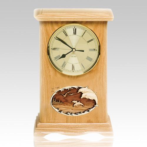 Dolphins Clock Oak Cremation Urn