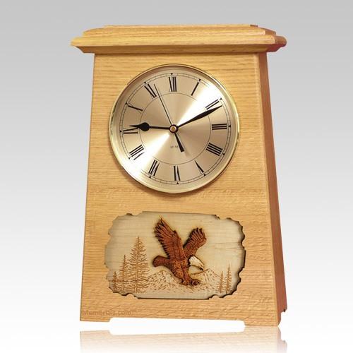 Eagle Astoria Clock Oak Cremation Urn