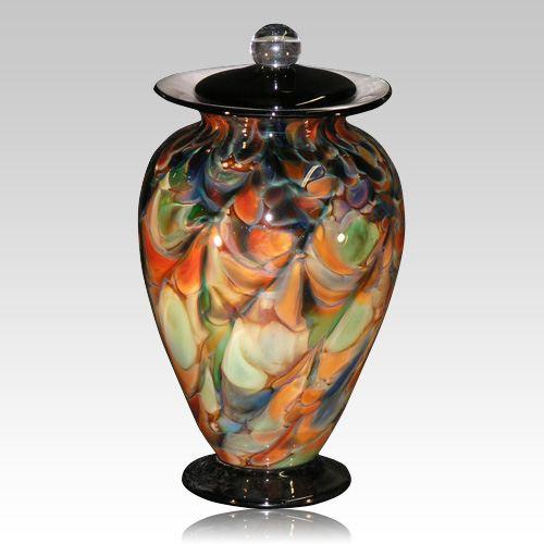 Rainbow Drops Glass Cremation Urn