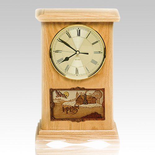 Farmhouse Clock Oak Cremation Urn