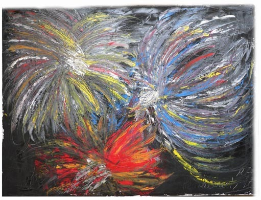 Firework of Life Cremation Ash Painting